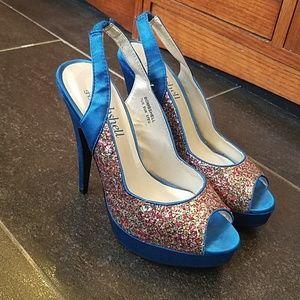 Shoedazzle Bombshell glitter peeptoe heel